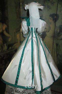 Porcelain Franklin Mint Gone With The Wind Scarlett Doll Rhett Promise Gown