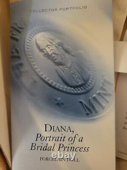 Princess Diana Doll Franklin Mint Porcelain Portrait of a Bridal Princess withBox