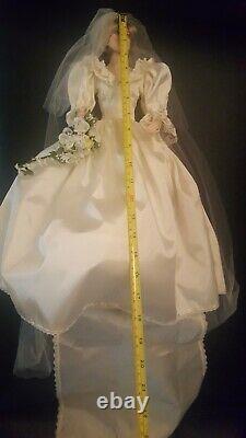 Princess Diana Doll Franklin Mint Porcelain Wedding Bride Missing Earring