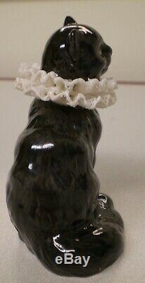 RARE! 1988 Franklin Mint Curio Cabinet Cats PORCELAIN LACE Collar Black Cat