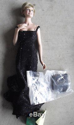RARE Franklin Mint Porcelain Princess Diana in Black Dress Prototype Doll 17