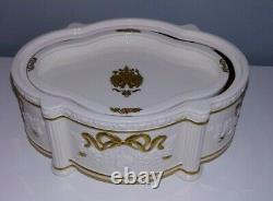 REDUCED! Faberge Snow Dove Musical Porcelain Jewelry Box. Franklin Mint