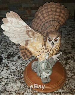 Rare! Franklin Mint The Eagle Owl Large Porcelain Figurine By George Mcmonigle