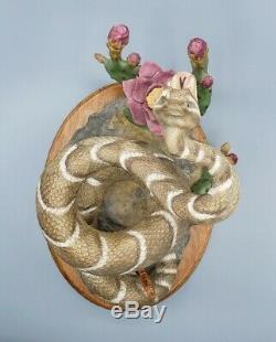 Rare Realistic Porcelain Rattlesnake 10H Figurine Snake Franklin Mint Taxidermy