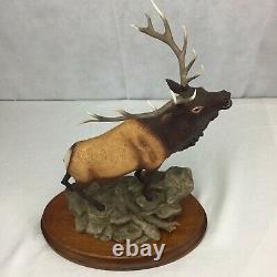 Rocky Mountain Elk Figurine Porcelain 1986 Franklin Mint Statue Wildlife withbase