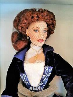 Rose Titanic Flying Scene Blue Velvet Dress 18 PORCELAIN Doll by Franklin Mint