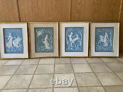 Set of 4 George McMonigle Franklin Mint Godess Parian Porcelain Incolay Wall Art
