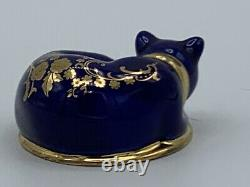 The Franklin Mint Curio Cabinet Cat figurine LIMOGES Blue and Gold