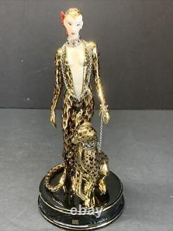VTG Franklin Mint Erte Art Deco Lady w Leopard Ocelot Porcelain Figurine Rare