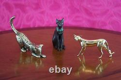 Vintage 1986 Franklin Mint Curio Cabinet 15 Cats Collection Figurines