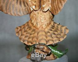 Vintage Fine Porcelain Handpainted Screech Owllarge Bird Of Preyfranklin Mint