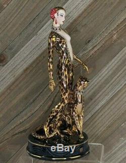 Vintage Franklin Mint House of Erte Art Deco Ruby Porcelain Figurine Leopard
