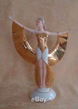 Vintage Franklin Mint Sunrise in Gold Art Deco Porcelain Lady Figurine