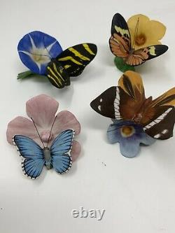 Vintage Lot 4 1985 Franklin Mint Porcelain Butterflies of The World Adonis Zebra