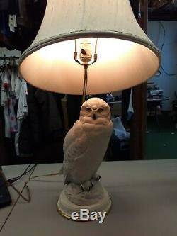 Vntg The Snowy Owl Porcelain Lamp Raymond Watson Franklin Mint 1987 Ivory White